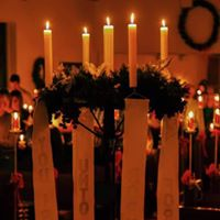 Advent Wreath lit up. Photo courtesy Brian Brant.